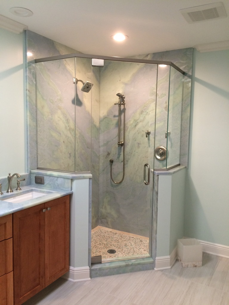 Frameless Shower with Header - Pelican Bay